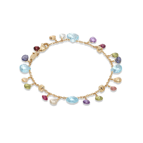 Marco Bicego® Paradise Collection 18K Yellow Gold Blue Topaz and Mixed Gemstone Single Strand Bracelet
