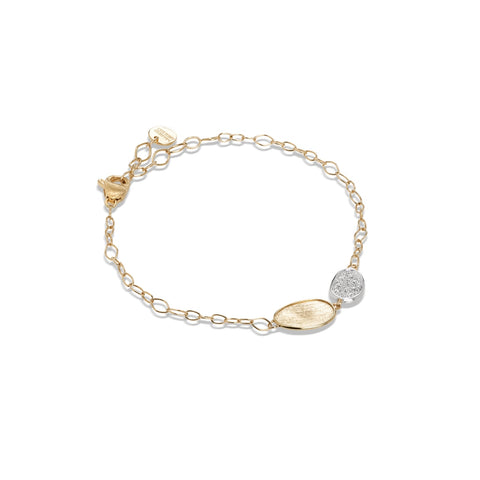 Marco Bicego® Lunaria Collection 18K Yellow Gold and Diamond Petite Double Leaf Bracelet