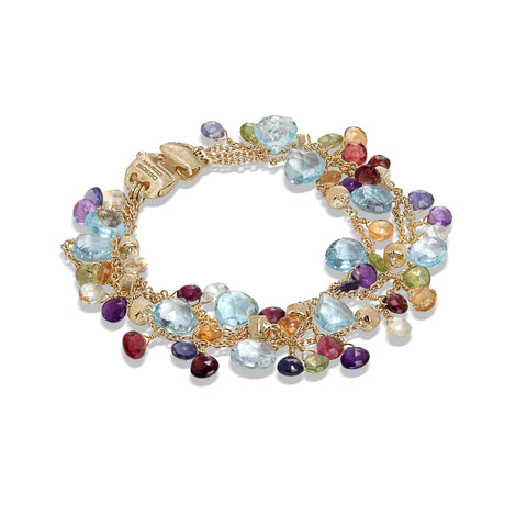 Marco Bicego® Paradise Collection 18K Yellow Gold Blue Topaz and Mixed Gemstone Triple Strand Bracelet