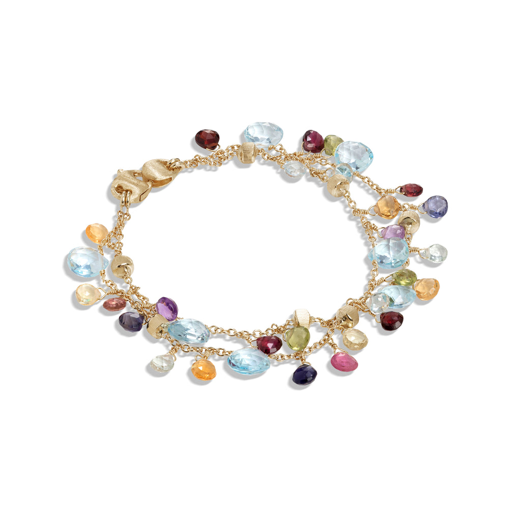 Marco Bicego® Paradise Collection 18K Yellow Gold Blue Topaz and Mixed Gemstone Double Strand Bracelet