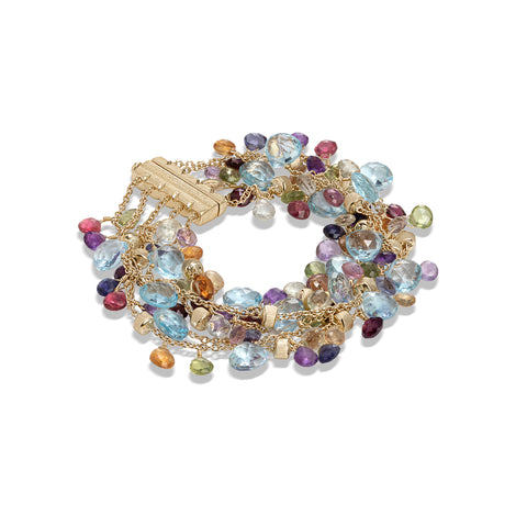 Marco Bicego® Paradise Collection 18K Yellow Gold Blue Topaz and Mixed Gemstone Five Strand Bracelet