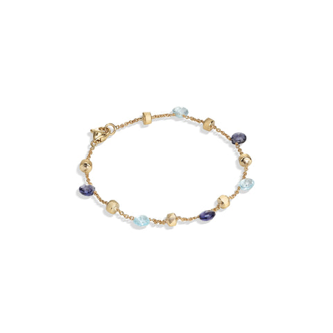 Marco Bicego® Paradise Collection 18K Yellow Gold Iolite and Blue Topaz Single Strand Bracelet