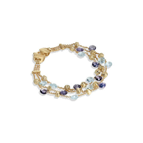 Marco Bicego® Paradise Collection 18K Yellow Gold Iolite and Blue Topaz Three Strand Bracelet