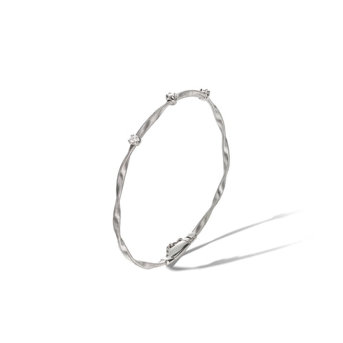 Marco Bicego® Marrakech Collection 18K White Gold and Diamond Stackable Bangle