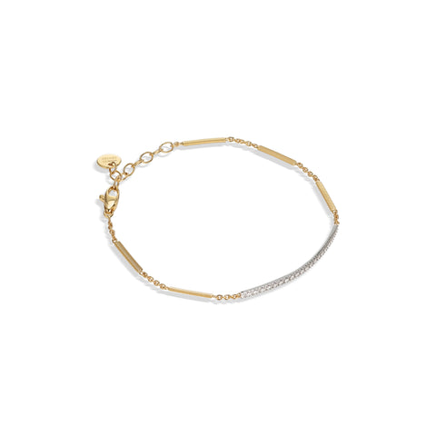 Marco Bicego® Goa Collection 18K Yellow & White Gold Pave Diamond Bar Bracelet In Yellow Gold