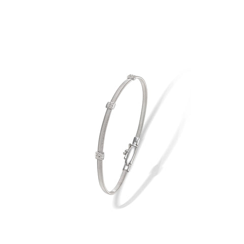 Marco Bicego® Masai Collection 18K White Gold and Diamond Small Three Station Bracelet
