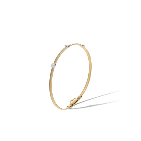 Marco Bicego® Masai Collection 18K Yellow Gold and Diamond Small Three Station Bracelet