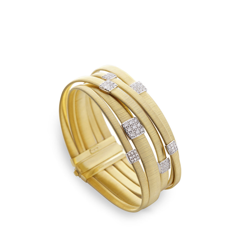 Masai Five Strand Crossover Diamond Bracelet in Yellow Gold