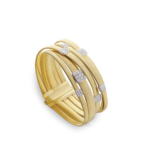 NEW - Masai Five Strand Crossover Diamond Bracelet in Yellow Gold