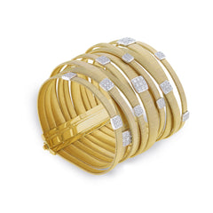 Marco Bicego® Masai Collection 18K Yellow Gold and Diamond Eleven Strand Crossover Bracelet