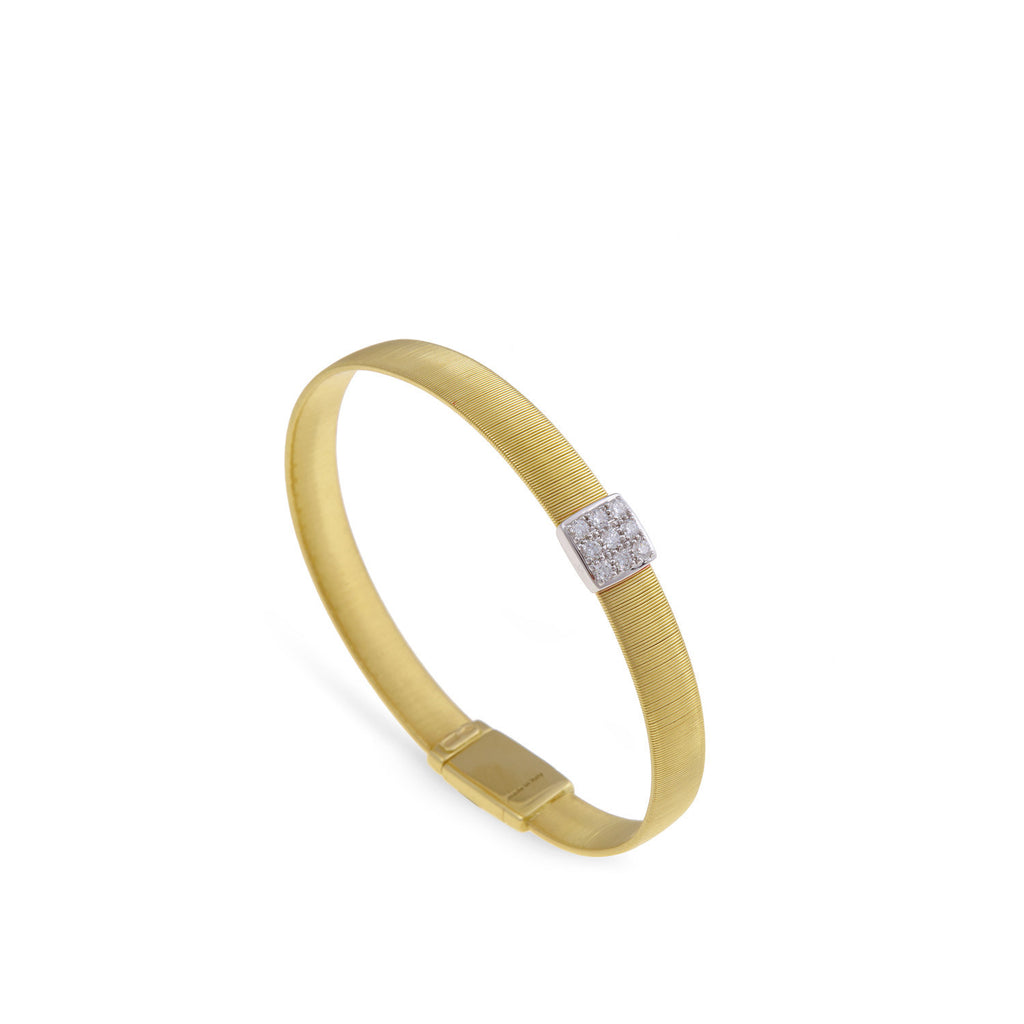 Marco Bicego® Masai Collection 18K Yellow Gold and Diamond Wide Single Station Bracelet