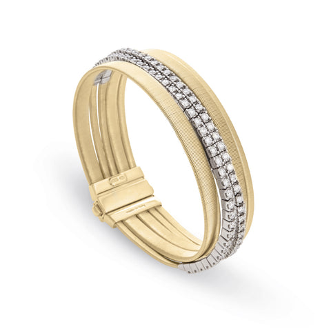 Masai Five Strand Double Pave Diamond Bracelet in Yellow Gold