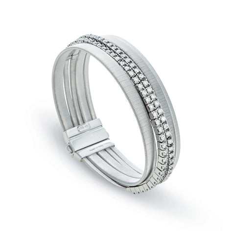 Masai Five Strand Double Pave Diamond Bracelet in White Gold