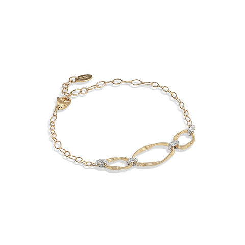 Marco Bicego® Marrakech Onde Collection 18K Yellow Gold and Diamond Link Three Station Bracelet