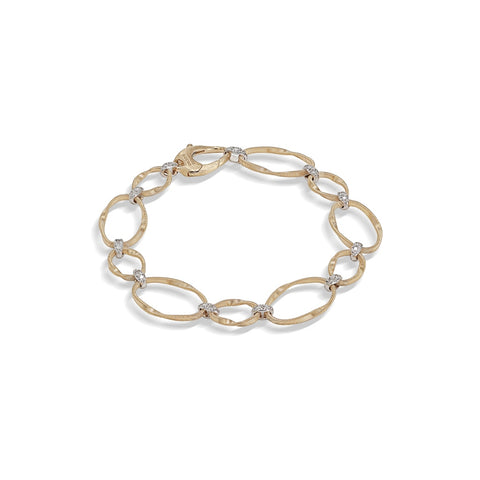 Marco Bicego® Marrakech Onde Collection 18K Yellow Gold and Diamond Flat Link Bracelet