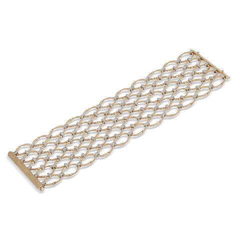 Marco Bicego® Marrakech Onde Collection 18K Yellow Gold and Diamond Flat Link Five Row Bracelet