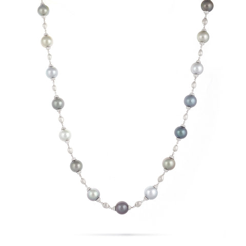 Marco Bicego® Unico Collection 18K White Gold Pearl and Diamond Necklace