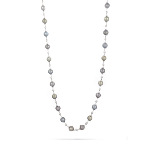 Marco Bicego® Unico Collection 18K White Gold Diamond and Tahitian Pearl Necklace