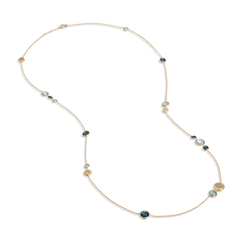 Marco Bicego® Jaipur Color Collection 18K Yellow Gold Mixed Blue Topaz Long Necklace