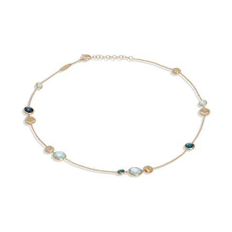 Marco Bicego® Jaipur Color Collection 18K Yellow Gold Mixed Blue Topaz Necklace