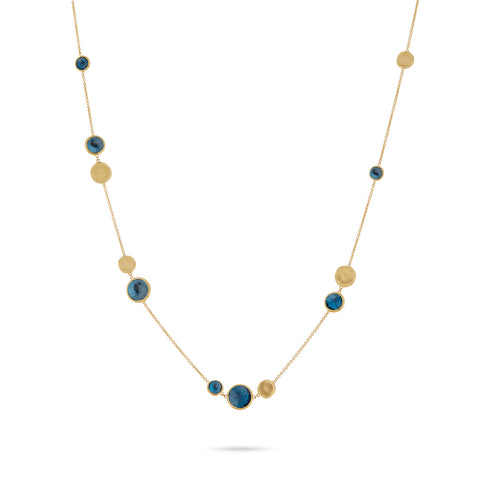 Jaipur Yellow Gold Bead & London Blue Topaz Necklace