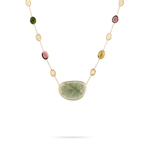 Unico Lunaria Yellow Gold & Aquamarine with Mixed Tourmaline Necklace
