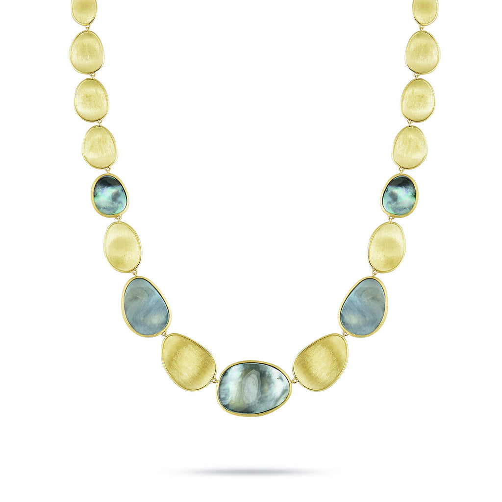 Lunaria Yellow Gold & Black Mother of Pearl Collar Necklace