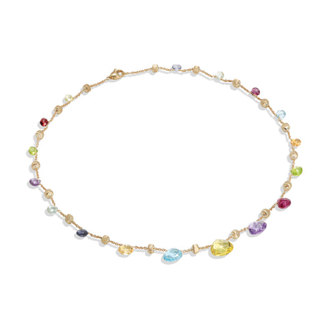 Marco Bicego® Paradise Collection 18k Yellow Gold Mixed Gemstone Graduated Short Necklace