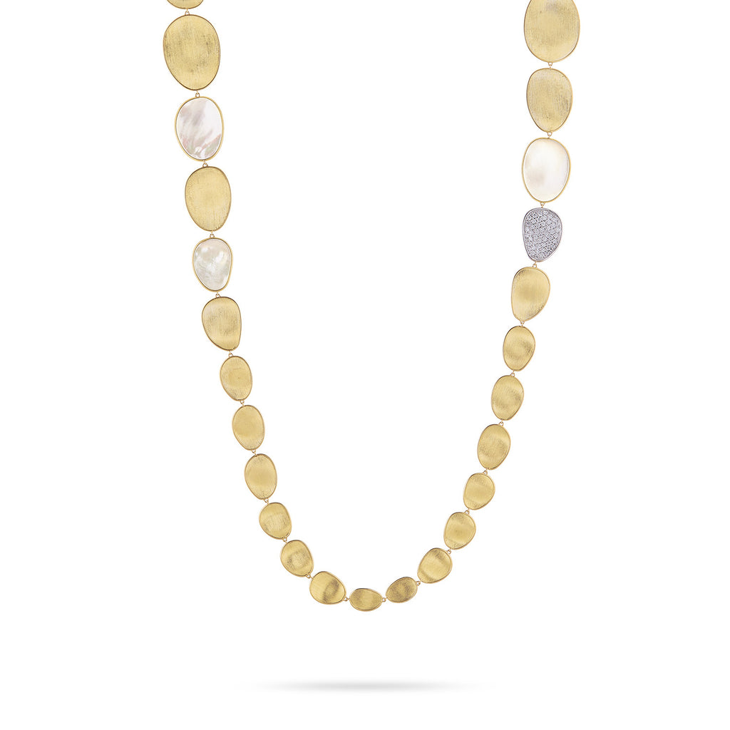 Unico Lunaria Yellow Gold & Diamond with Mother of Pearl Necklace