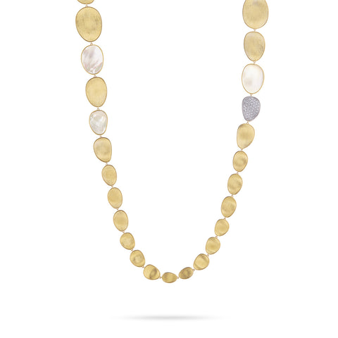 Lunaria Yellow Gold & Diamond with Mother of Pearl Necklace