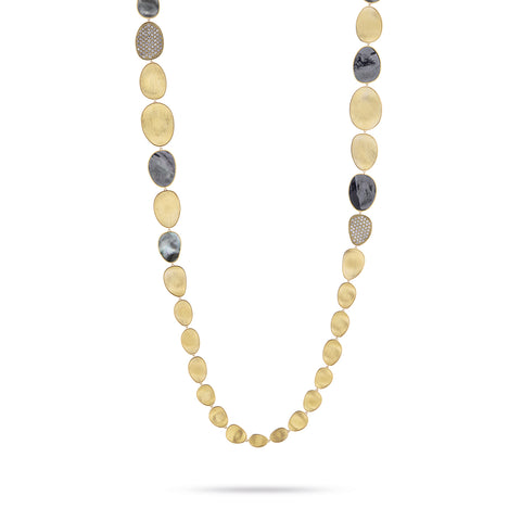 Marco Bicego® Lunaria Collection 18K Yellow Gold and Diamond Black Mother of Pearl Necklace