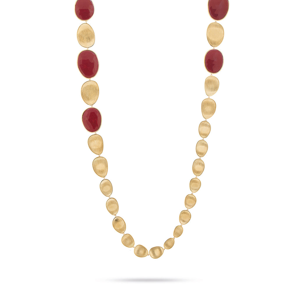 Lunaria Gold & Red Jasper Double Wave Necklace