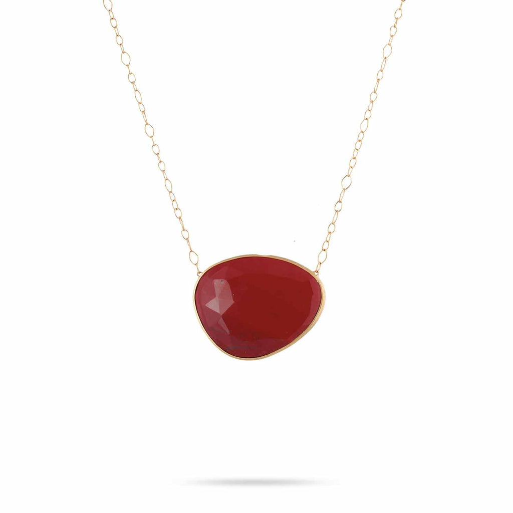Lunaria Gold & Red Jasper Large Pendant