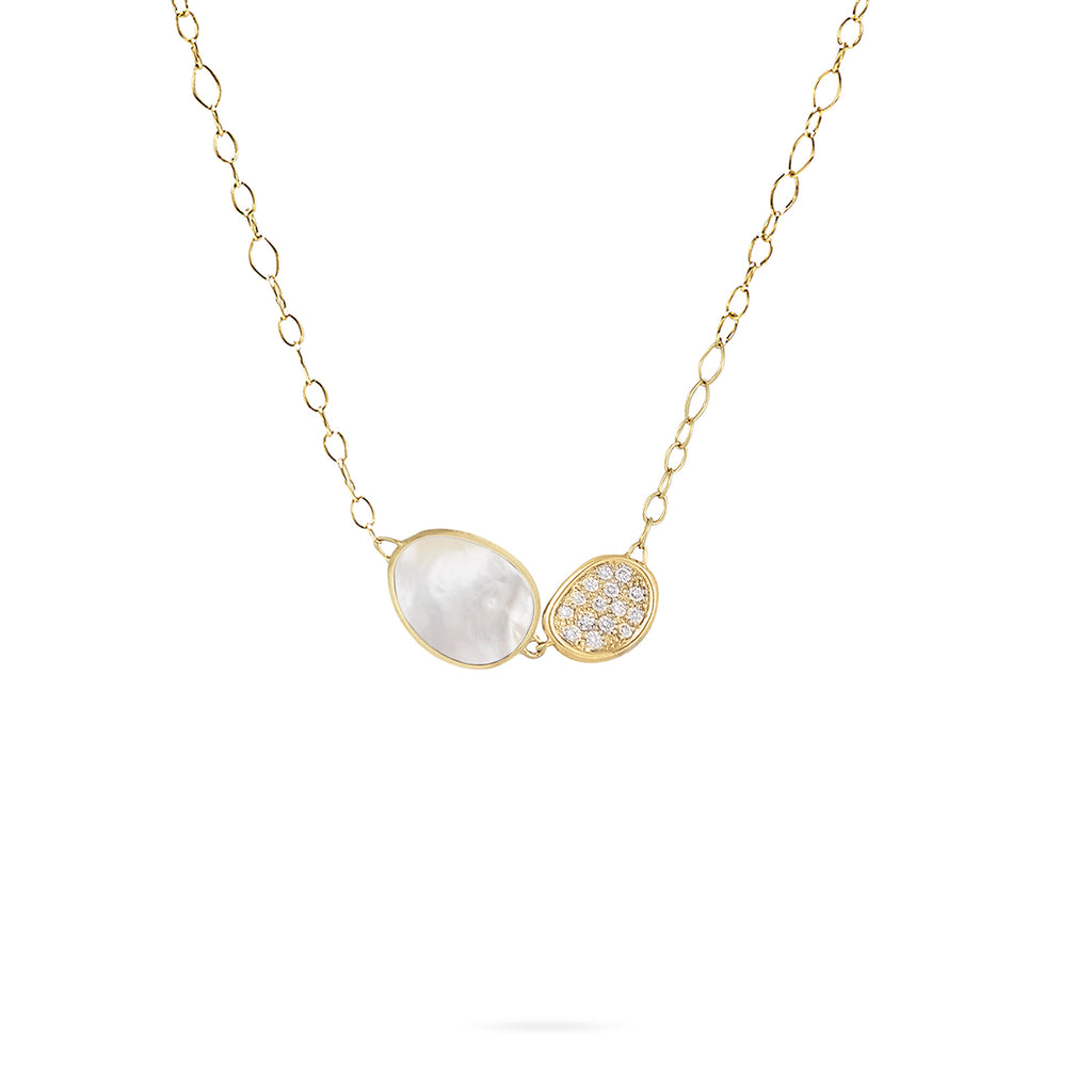 Marco Bicego® Lunaria Collection 18K Yellow Gold and Diamond White Mother of Pearl Necklace