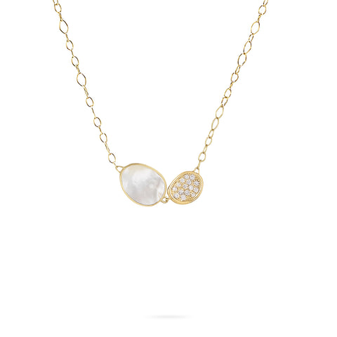 Lunaria White Mother of Pearl with Diamond Pave Chain Necklace