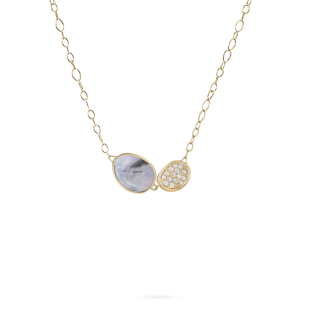 Marco Bicego Lunaria Two-Pendant Necklace with Black Mother-of-Pearl & Diamonds C4qdLitrxx