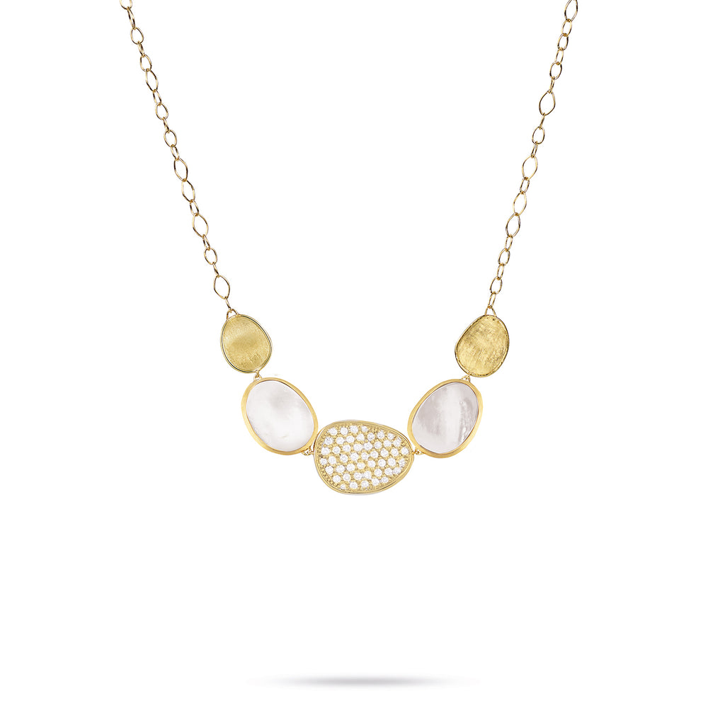 Lunaria White Mother of Pearl with Diamond Pave Graduated Necklace