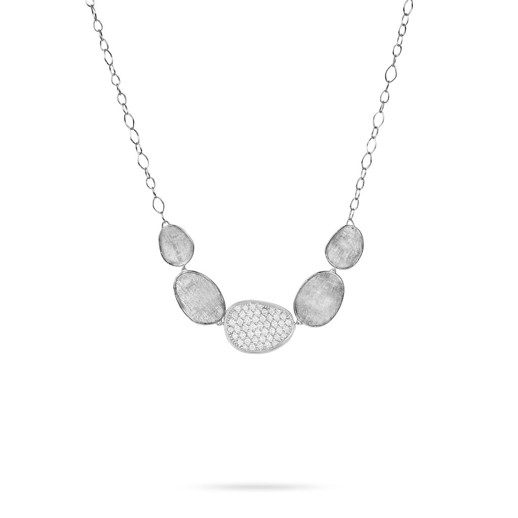 Lunaria White Gold & Diamond Pave Graduated Necklace