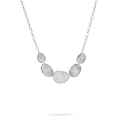 Marco Bicego® Lunaria Collection 18K White Gold and Diamond Graduated Necklace