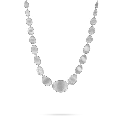 Lunaria White Gold & Diamond Pave Small Single Station Necklace
