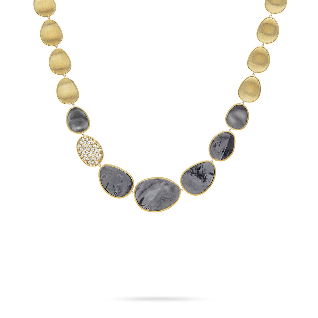 Lunaria Black Mother of Pearl & Diamond Pave Small Single Station Necklace