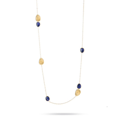 Lunaria Gold & Lapis Long Chain Necklace