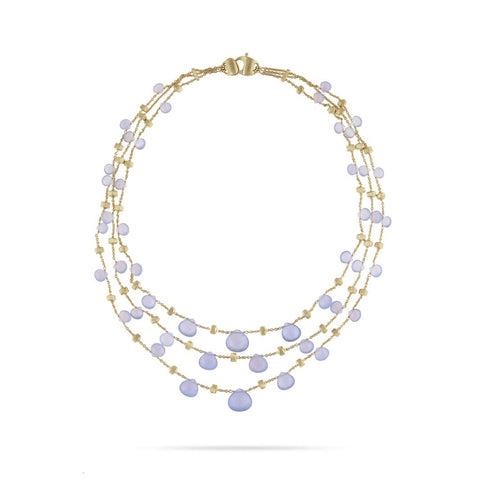 Paradise Chalcedony Graduated Three Strand Necklace