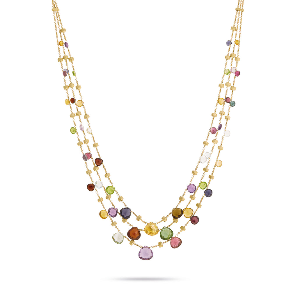 Marco Bicego Paradise Three-Strand Mixed-Gem Necklace, 16.5