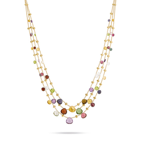 Paradise 18K Yellow Gold Mixed Gemstone Graduated Three Strand Necklace