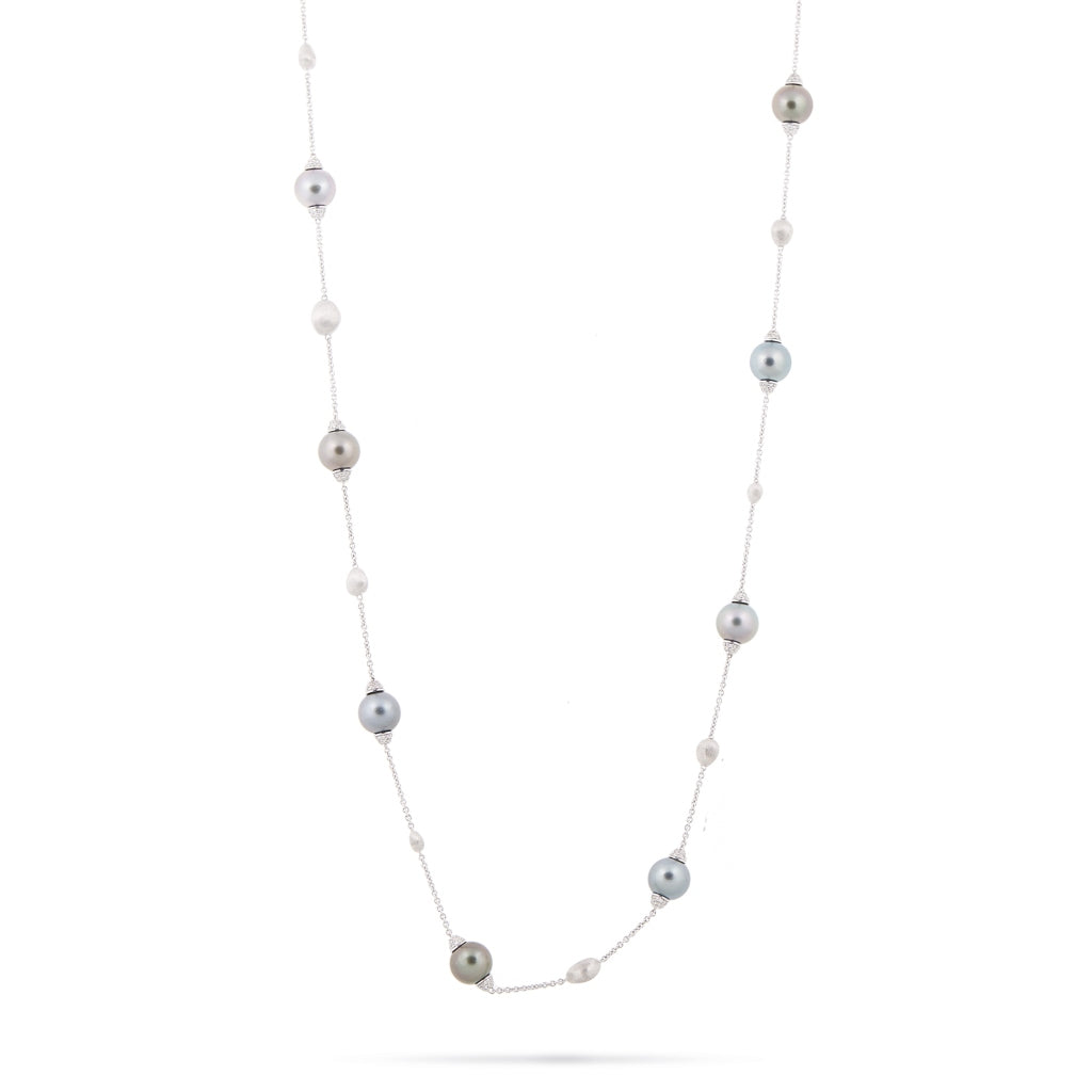 Marco Bicego® Unico Collection 18K White Gold White Diamond and Tahitian Pearl Necklace