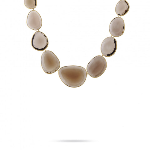 Unico Yellow Gold & Smokey Quartz Necklace