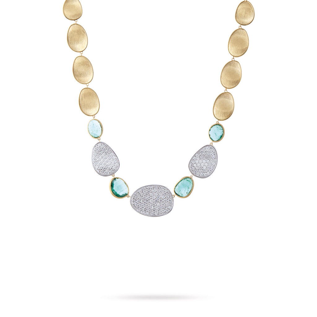 Unico Lunaria Three Station Diamond and Emerald Collar