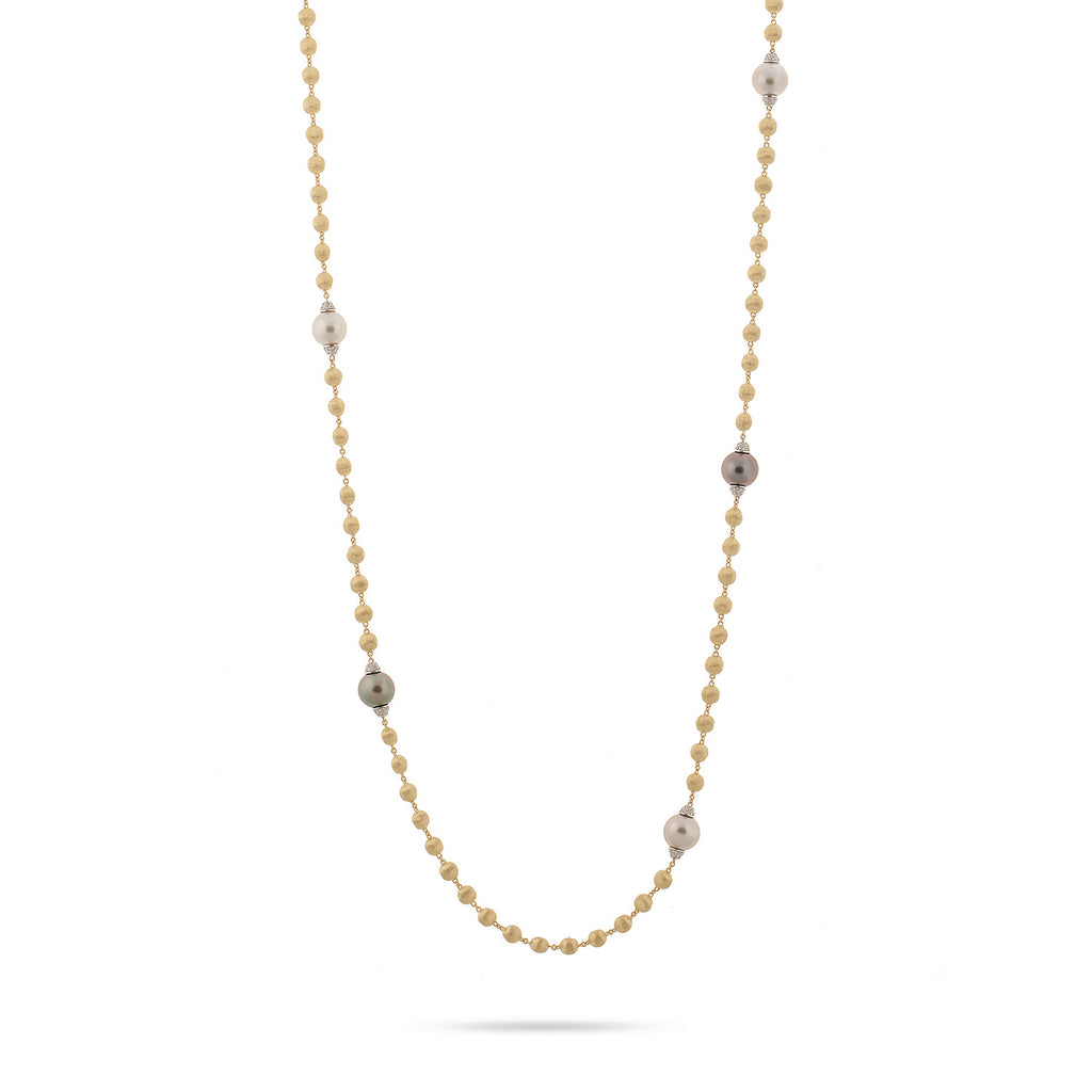 Marco Bicego® Unico Collection Africa Collection Long Gold with Pearl and Diamond Necklace
