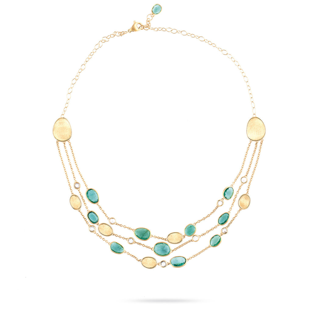 Unico Lunaria Gold with Emerald and Diamond Three Strand Collar